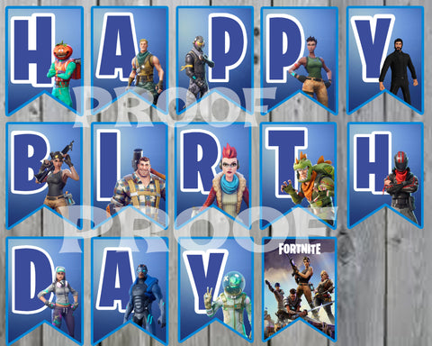 "PRINTABLE FORTNITE PENNANT BANNER SPELLS HAPPY BIRTHDAY EACH ONE SIZE 5"" INCHES WIDE AND 7"" INCHES TALL."