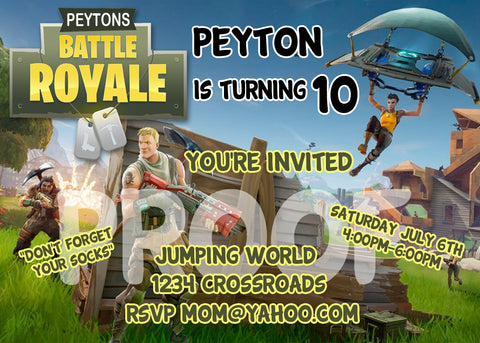 FORTNITE PRINTABLE BIRTHDAY INVITATION. SIZE 5 INCHES TALL AND 7 INCHES WIDE.
