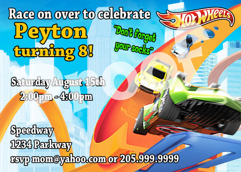 Printable Hotwheels Birthday Invitation Personalized 5 inches tall and 7 inches wide.