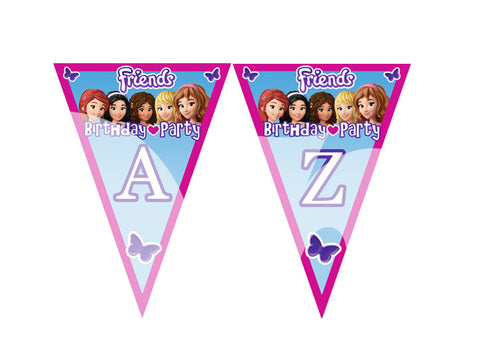 PRINTABLE.. LEGO FRIENDS FULL ALPHABET PENNANT BANNER.. SIZE 5 INCHES WIDE AND 7 INCHES TALL..