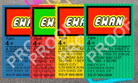 PRINTABLE.. CHOOSE ONE COLOR.. LEGO BRICK BIRTHDAY INVITATION PERSONALIZED WITH CHILDS, NAME AGE AND PARTY INFO.. SIZE 4 INCHES WIDE AND 6 INCHES TALL