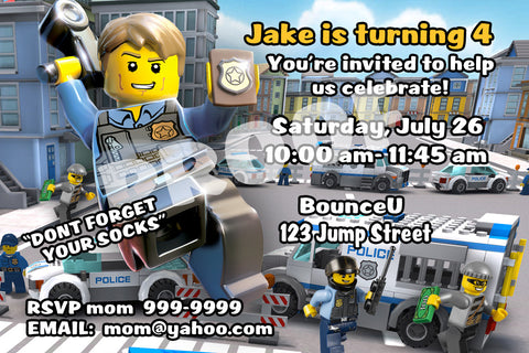 PRINTABLE.. LEGO CHASE MCCAIN PERSONALIZED BANK ROBBERS BIRTHDAY INVITATION.. SIZE 4 INCHES TALL  AND 6 INCHES WIDE..