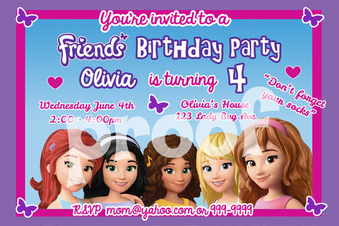 LEGO FRIENDS PERSONALIZED BIRTHDAY INVITATION SIZE 4 INC Brickpartiesrus