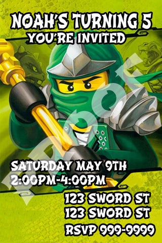 PRINTABLE.. GREEN LEGO NINJAGO PERSONALIZED BITHDAY INVITATION.. SIZE 6 INCHES TALL AND 6 INCHES TALL