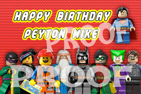 PRINTABLE.. LEGO MOVIE/SUPER HEROES PERSONALIZED OVERSIZE BANNER. SIZE 24 INCHES TALL AND 36 INCHES WIDE.