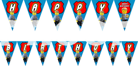 PRINTABLE.. LEGO POLICE BANNER SPELLS HAPPY BIRTHDAY.. EACH PENNANT IS 5 INCHES WIDE AND 7 INCHES TALL.