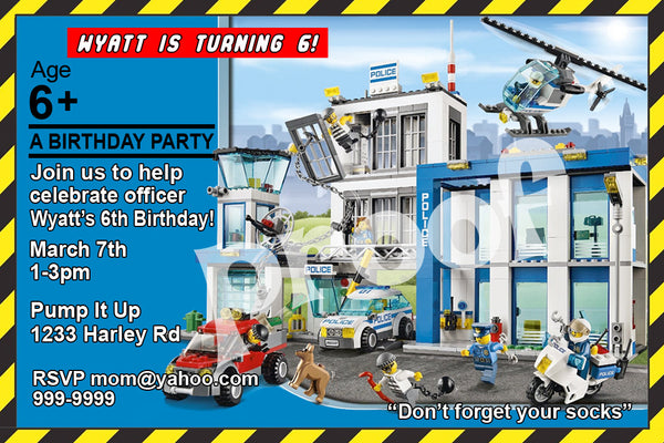LEGO POLICE PERSONALIZED BIRTHDAY INVITATION SIZE 4 INCH Brickpartiesrus