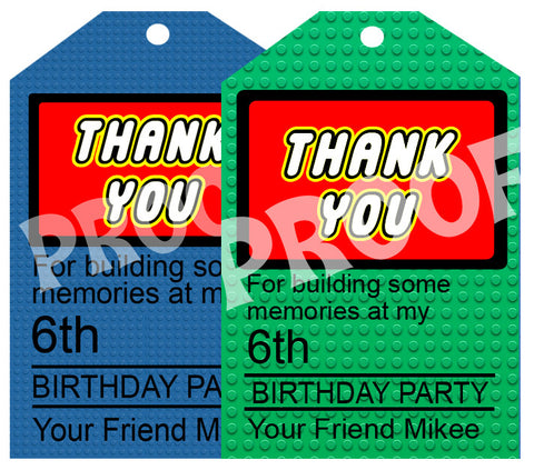 PRINTABLE.. CHOOSE ONE COLOR LEGO BRICK PERSONALIZED THANK YOU CARD WITH AGE AND NAME. SIZE 4 INCHES WIDE AND 6 INCHES TALL.