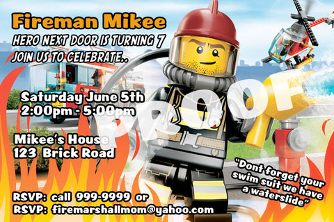 PRINTABLE.. LEGO FIREFIGHTER PERSONALIZED BIRTHDAY INVITATION.. SIZE 4 INCHES TALL AND 6 INCHES WIDE..