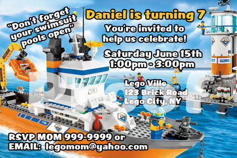 PRINTABLE.. LEGO COASTGUARD PERSONALIZED BIRTHDAY INVITATION.. SIZE 4 INCHES TALL AND 6 INCHES WIDE..