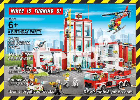 "Printable.. Lego Fire Department Personalized Birthday Invitation. Size 5"" tall and 7"" wide."