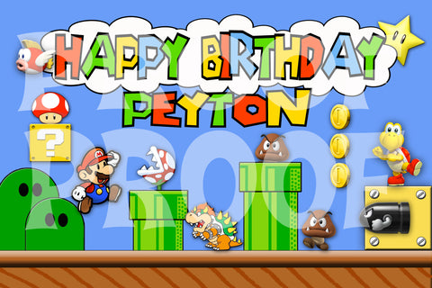 Printable.. Super Mario Personalized Birthday Banner. Size 24 inches tall and 36 inches wide.