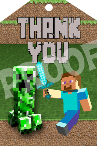 PRINTABLE.. MINECRAFT THANK YOU TAG.. SIZE 4 INCHES WIDE AND 6 ...