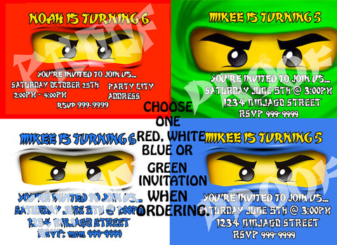 PRINTABLE.. CHOOSE ONE COLOR LEGO NINJAGO PERSONALIZED BIRTHDAY INVITATION.. SIZE 4 INCHES TALL AND 6 INCHES WIDE..