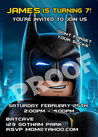 Printable Batman & Robin Personalized Birthday Invitations size 5 inches wide and 7 inches tall.