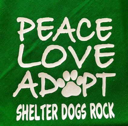Dog Bandana.. Peace, Love, Adopt Shelter Dogs Rock!!