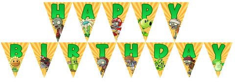 PRINTABLE.. PLANTS VS ZOMBIES BANNER SPELLS HAPPY BIRTHDAY.. EACH PENNANT IS 5 INCHES WIDE AND 7 INCHES TALL..