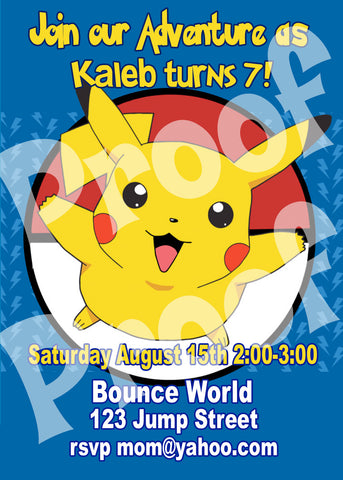 Printable Pokemon Birthday Invitation size 5 inches wide and 7 inches tall.