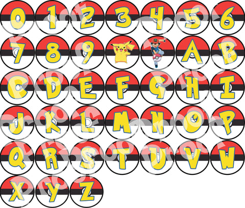 "Printable Pokemon Banner Full Alphabet, #0-9. Each Letter 5"" in diameter."