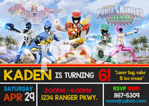PRINTABLE. POWER RANGERS PERSONALIZED BIRTHDAY INVITATION. SIZE 5 INCHES WIDE AND 7 INCHES TALL.