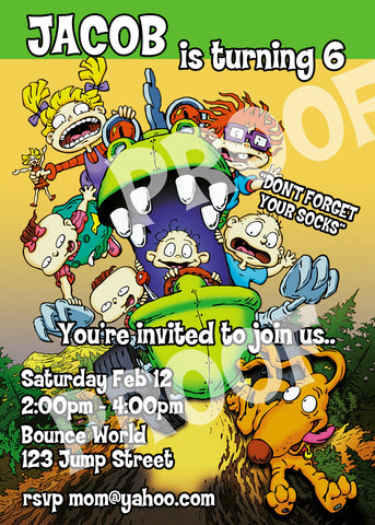 PRINTABLE.. RUGRATS PERSONALIZED BIRTHDAY INVITATION.. SIZE 5 INCHES WIDE AND 7 INCHES TALL.