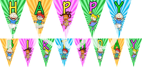 PRINTABLE.. RUGRATS BANNER SPELLS HAPPY BIRTHDAY.. EACH PENNANT IS 5 INCHES WIDE AND 7 INCHES TALL..