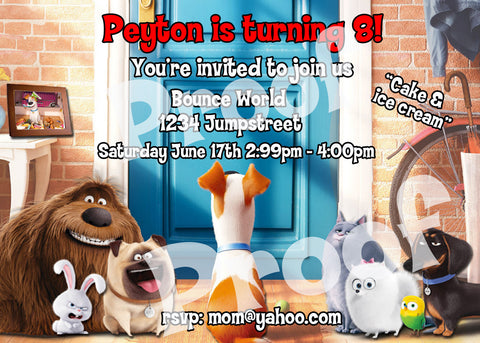 Printable Secret Life of Pets Personalized Birthday Invitation. Size 7 inches wide and 5 inches tall.