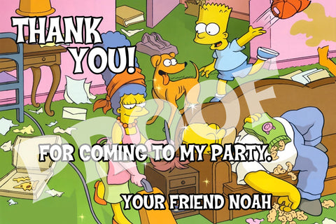 PRINTABLE.. SIMPSONS PERSONALIZED THANK YOU CARD.. SIZE 4 INCHES TALL AND 6 INCHES WIDE..