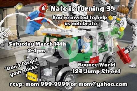 Printable.. Lego Spiderman Personalized Birthday Invitation. Size 4 inches tall ad 6 inches wide..