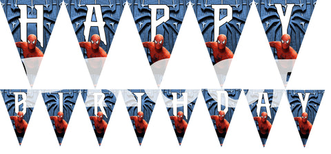 PRINTABLE.. SPIDERMAN BANNER SPELLS HAPPY BIRTHDAY.. EACH PENNANT IS 5 INCHES WIDE AND 7 INCHES TALL..