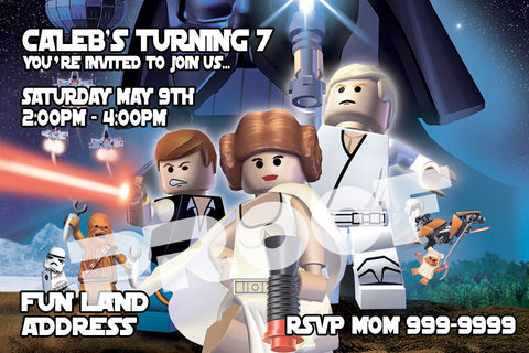 PRINTABLE. LEGO STARWARS PERSONALIZED BIRTHDAY INVITATION OPT3. SIZE 4 INCHES TALL AND 6 INCHES WIDE..