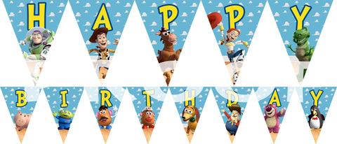 PRINTABLE.. TOY STORY BANNER SPELLS HAPPY BIRTHDAY.. EACH PENNANT IS 5 INCHES WIDE AND 7 INCHES TALL..