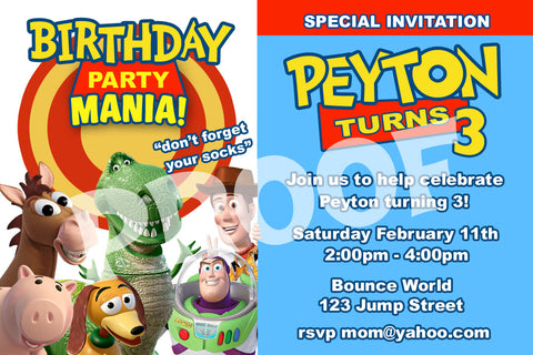 PRINTABLE.. TOY STORY PERSONALIZED BIRTHDAY INVITATION. SIZE 4 INCHES TALL AND 6 INCHES WIDE.