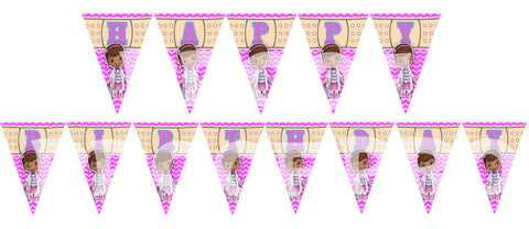 Printable Doc McStuffin Triangle Banner Spells Happy Birthday. Each pennant is 5 inches wide and 7 inches tall.