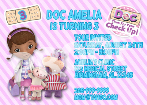 Printable.. Doc McStuffin Personalized Birthday Invitation. Size 5 inches tall and 7 inches wide.