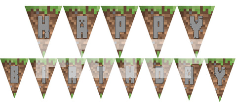 PRINTABLE.. MINECRAFT BANNER SPELLS HAPPY BIRTHDAY.. EACH PENNANT IS 5 INCHES WIDE AND 7 INCHES TALL..