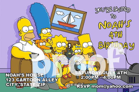 PRINTABLE.. SIMPSON'S WATCHING TV PERSONALIZED BIRTHDAY INVITATION.. SIZE 4 INCHES TALL AND 6 INCHES WIDE..