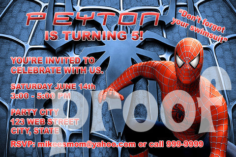 PRINTABLE.. SPIDERMAN PERSONALIZED BIRTHDAY INVITATION.. SIZE 4 INCHES TALL AND 6 INCHES WIDE..