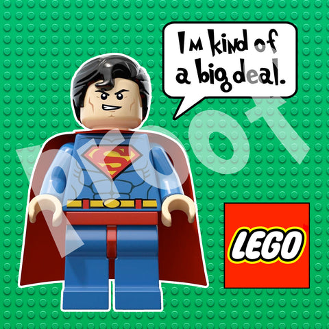 PRINTABLE. LEGO SUPERMAN T-SHIRT TRANSFER.. SIZE 11 INCHES TALL AND 11 INCHES WIDE.. THE SIZE CAN BE REDUCED..
