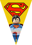 PRINTABLE.. LEGO SUPERMAN BANNER SPELLS HAPPY BIRTHDAY.. EACH PENNANT IS 5 INCHES WIDE AND 7 INCHES TALL..
