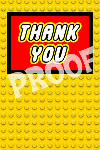 PRINTABLE.. LEGO YELLOW BRICK THANK YOU CARD.. SIZE 4 INCHES WIDE AND 6 INCHES TALL.