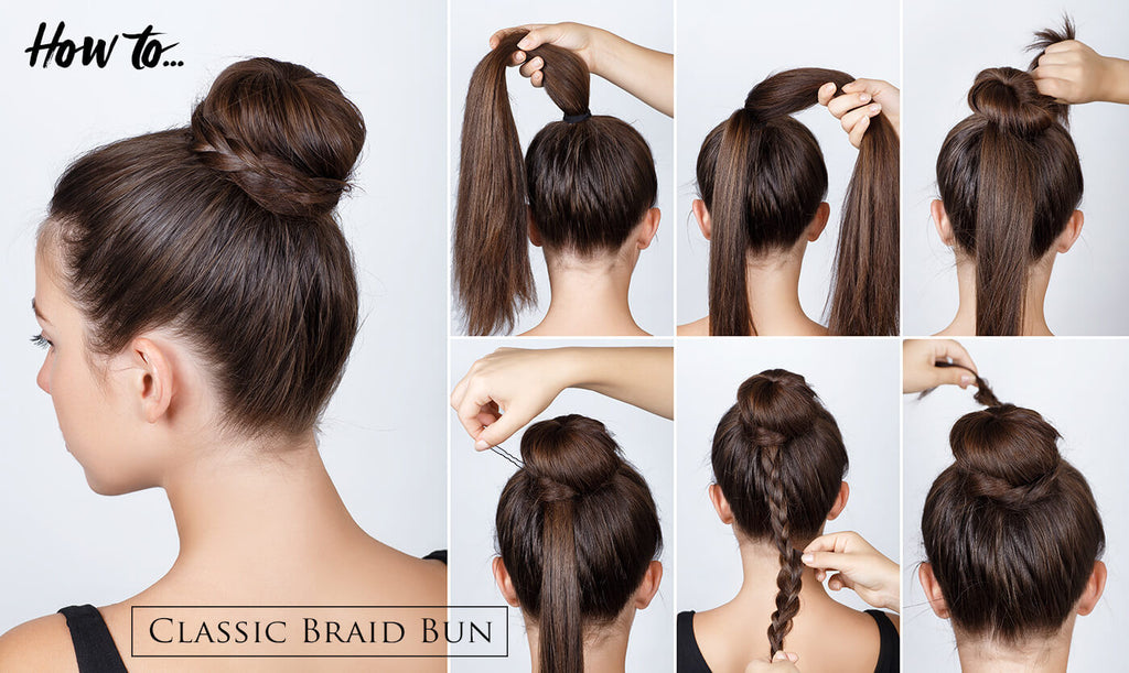 "A hair tutorial for ST. TROPICA showing off her ""Classic Bun"" look"