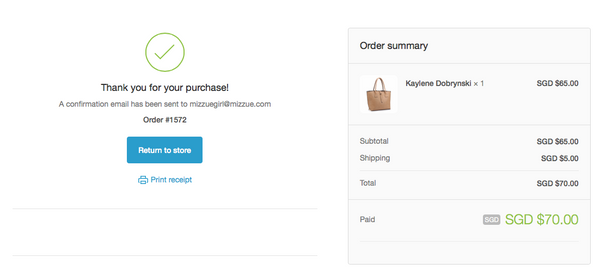 mizzue Singapore handbag order confirmation page screen capture