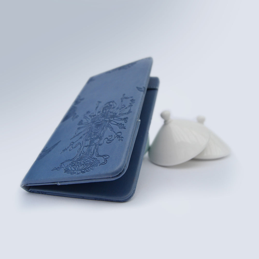 Italian Naval Blue Leather Holder - THE BLUE HOUSE