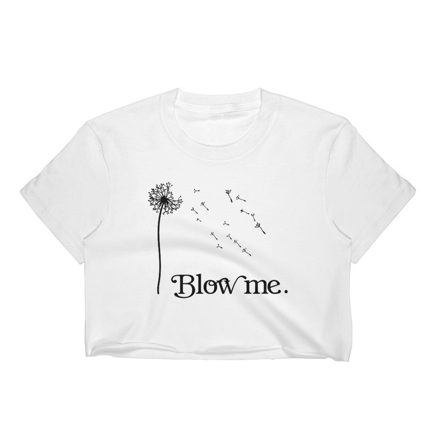 Blow Me Dandelion Flower Vintage Print Crop Top