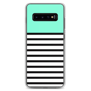 Turquoise Mint Black White Stripes Samsung Case