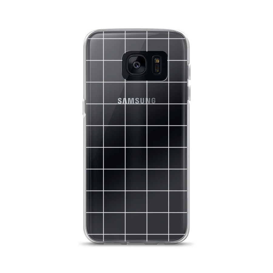 Minimal White Grid Pattern Clear Transparent Samsung Case