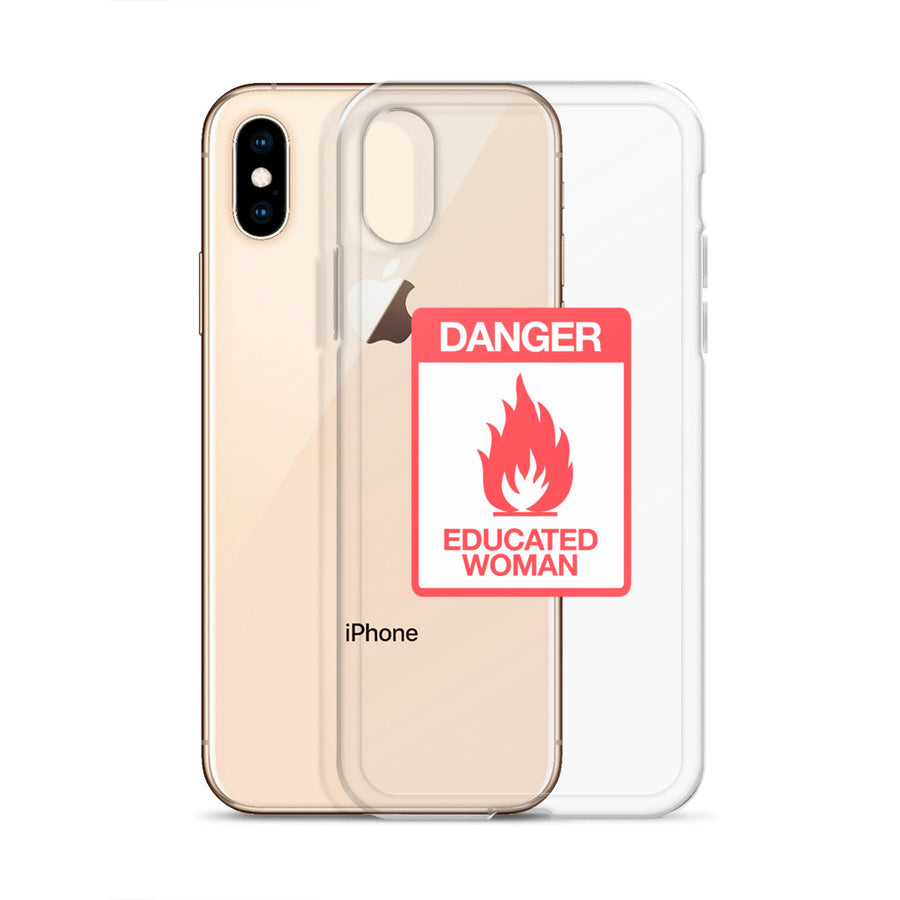 Danger Educated Woman Sign clear transparent iPhone Case