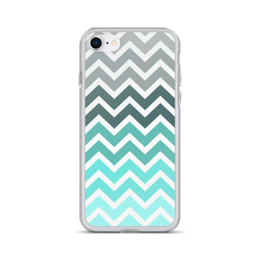 Turquoise Mint Chevron Fade iPhone Case