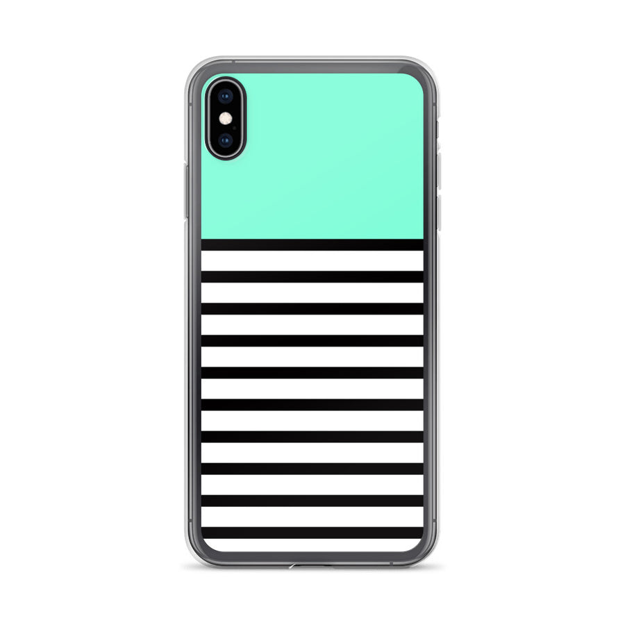 Turquoise Mint Black White Stripes iPhone Case